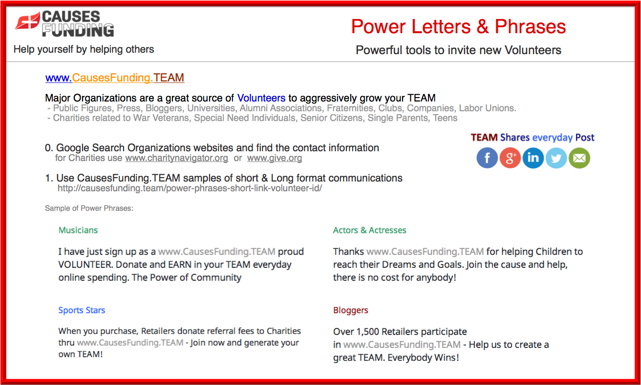 Power Letters & Phrases Powerful tools to invite new Volunteers Major Organizations are great source of Volunteers to aggressively grow your TEAM Use CausesFunding.TEAM samples of short & long format communication