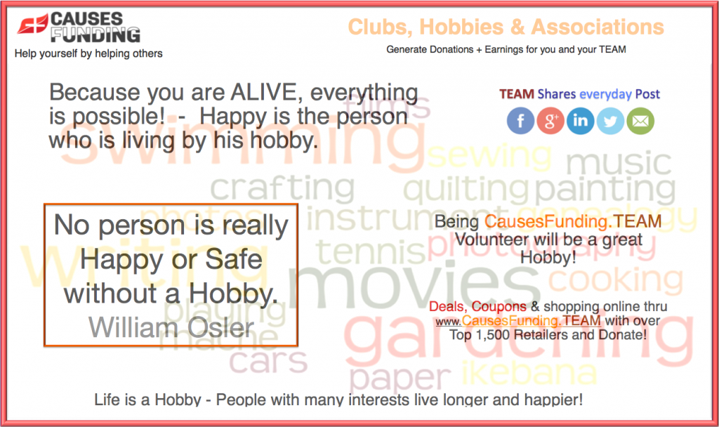 Clubs, Hobbies & Associations    							 Because you are ALIVE, everything is possible!  -  Happy is the person who is living by his hobby.